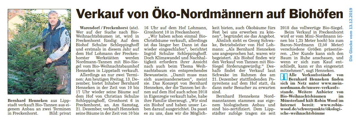 Verkauf von Öko-Nordmanntannen auf Biohöfen